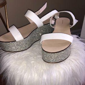 Zara Woman White Silver Sparkle Platform Sandals